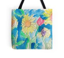 Summer Sunflower Garden In Watercolor and Ink Tote Bag
