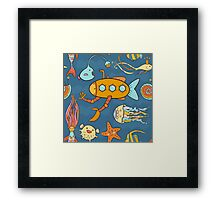 Yellow submarine and fantastic underwater world Framed Print