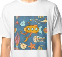 Yellow submarine and fantastic underwater world Classic T-Shirt