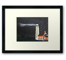 Peaceful Michigan Lighthouse At Night With Starlit Sky Framed Print