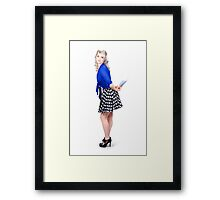 Pretty housewife with washing cloth. Clean style Framed Print