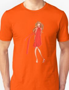 Girl in a Red Dress Unisex T-Shirt