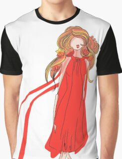Girl in a Red Dress Graphic T-Shirt