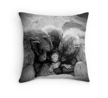 little chimp surrounded with love Throw Pillow