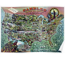 Vintage United States Map Rambles Travel Poster