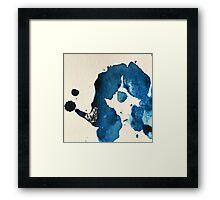 Blue Ink Splat Framed Print