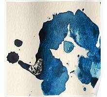 Blue Ink Splat Poster