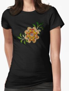 Tonal Flowers Womens Fitted T-Shirt