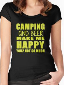 Camping And Beer Make Me Happy Women's Fitted Scoop T-Shirt