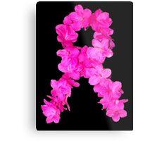 Azalea Flower Arrangement Photo Breast Cancer Awareness Ribbon Metal Print