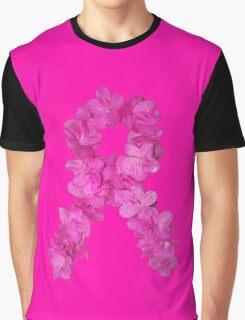 Azalea Flower Arrangement Photo Breast Cancer Awareness Ribbon Graphic T-Shirt