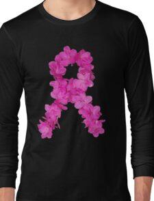 Azalea Flower Arrangement Photo Breast Cancer Awareness Ribbon Long Sleeve T-Shirt