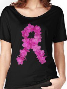Azalea Flower Arrangement Photo Breast Cancer Awareness Ribbon Women's Relaxed Fit T-Shirt