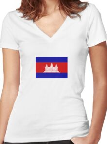 National flag of Cambodia Women's Fitted V-Neck T-Shirt