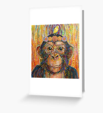 Intuition (The chimpanzee and the canary) painting - 2016 Greeting Card