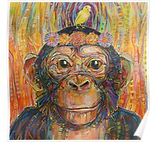 Intuition (The chimpanzee and the canary) painting - 2016 Poster