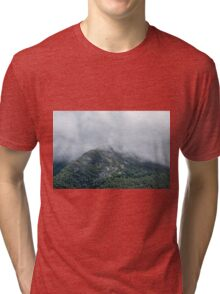 Cloudy Foggy Mountain Forest Nature Fine Art Photography 0048 Tri-blend T-Shirt