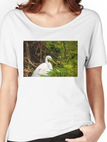 Great Blue Heron - White Women's Relaxed Fit T-Shirt