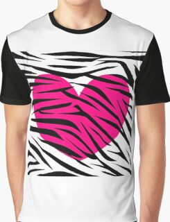 Hot Pink Heart Zebra Stripes Graphic T-Shirt