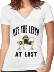 Off The Leash At Last Women's Fitted V-Neck T-Shirt