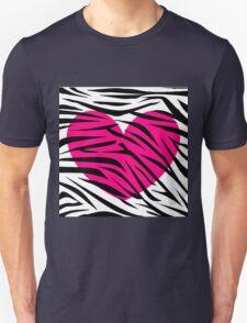 Hot Pink Heart Zebra Stripes T-Shirt