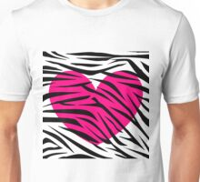 Hot Pink Heart Zebra Stripes Unisex T-Shirt