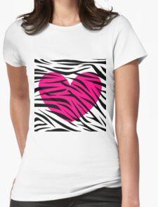 Hot Pink Heart Zebra Stripes Womens Fitted T-Shirt