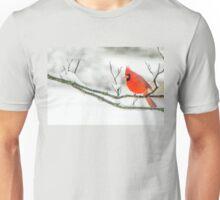 Cardinal In Snow Unisex T-Shirt