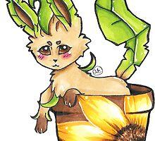 Leafeon In a Sunflower Pot by RewbyFox