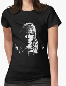 Final Fantasy XIII Lightning - Black and White Womens Fitted T-Shirt