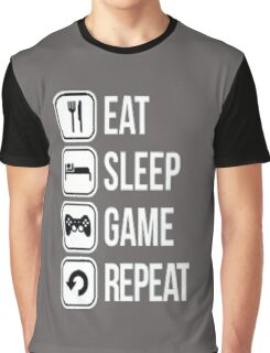 Gamer design:Eat, sleep, game, rapeat Graphic T-Shirt