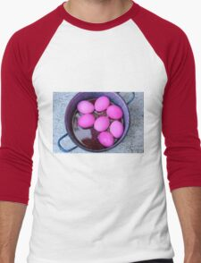 red hard boiled eggs (dyed with beetroot) a good start for Easter eggs  Men's Baseball ¾ T-Shirt