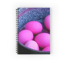 red hard boiled eggs (dyed with beetroot) a good start for Easter eggs  Spiral Notebook
