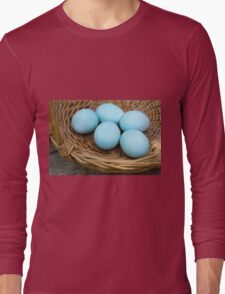 Blue hard boiled eggs a good start for Easter eggs Long Sleeve T-Shirt