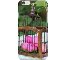 red hard boiled eggs (dyed with beetroot) in a birds cage. A good start for Easter eggs  iPhone Case/Skin
