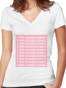 1-800-CHANDLERBING Women's Fitted V-Neck T-Shirt