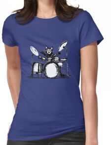 Drummer Cat Womens Fitted T-Shirt