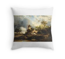 JULES DUPRÉ ; LANDSCAPE WITH WINDMILL Throw Pillow
