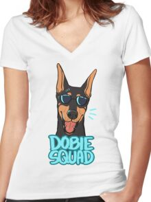 DOBIE SQUAD (black + cropped) Women's Fitted V-Neck T-Shirt