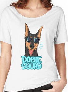 DOBIE SQUAD (black + cropped) Women's Relaxed Fit T-Shirt