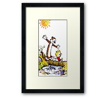 calvin and hobbes wait Framed Print