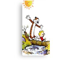 calvin and hobbes wait Canvas Print
