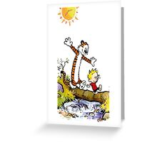 calvin and hobbes wait Greeting Card