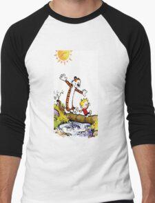 calvin and hobbes wait Men's Baseball ¾ T-Shirt