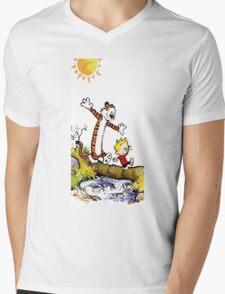 calvin and hobbes wait Mens V-Neck T-Shirt