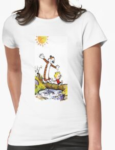 calvin and hobbes wait Womens Fitted T-Shirt