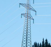 Electric pylon conducting electric power from the hydroelectric plant at Hintersee, Tirol, Austria  by PhotoStock-Isra