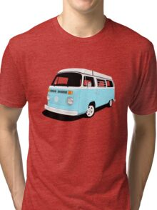 VW Camper Late Bay pale blue and white Tri-blend T-Shirt