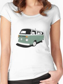 VW Camper Late Bay dark green white Women's Fitted Scoop T-Shirt