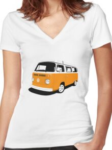 VW Camper Late Bay orange and white Women's Fitted V-Neck T-Shirt
